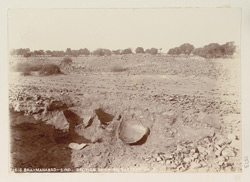 Brahmanabad, Hyderabad District, Sindh. Section [of an excavation] showing great earthen jars (from a distance) 1513